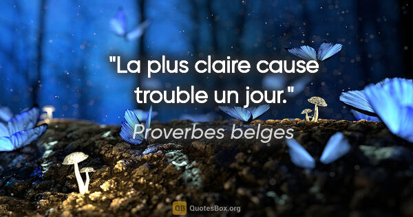 "Proverbes belges citation: ""La plus claire cause trouble un jour."""