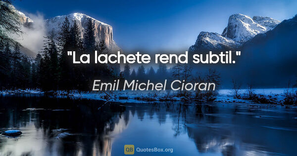 "Emil Michel Cioran citation: ""La lachete rend subtil."""