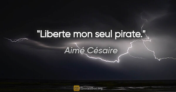 "Aimé Césaire citation: ""Liberte mon seul pirate."""