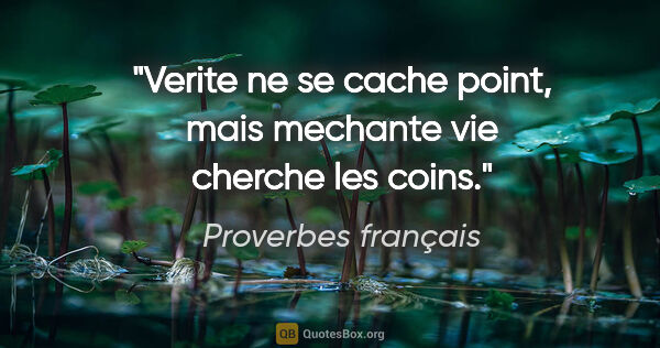 "Proverbes français citation: ""Verite ne se cache point, mais mechante vie cherche les coins."""