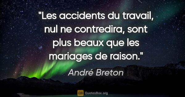 "André Breton citation: ""Les accidents du travail, nul ne contredira, sont plus beaux..."""