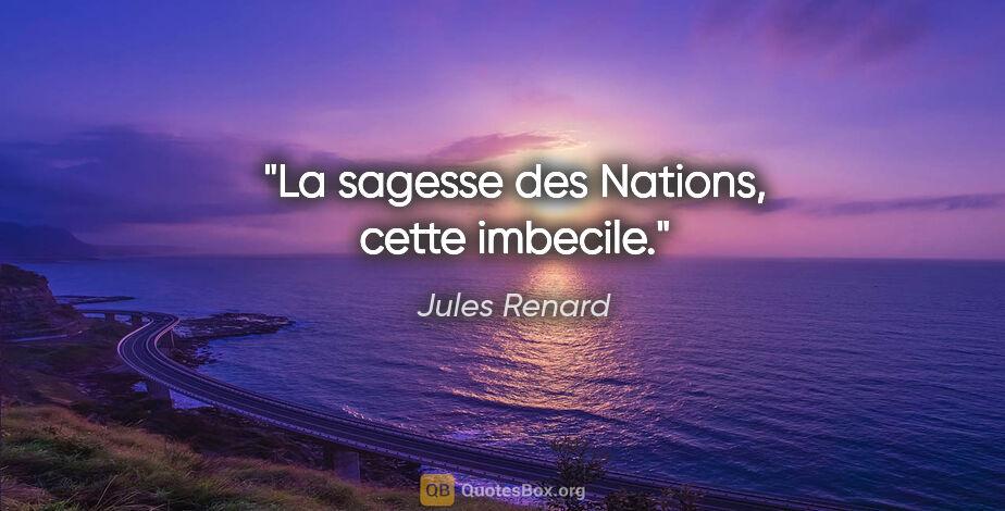 """Jules Renard citation: """"La sagesse des Nations, cette imbecile."""""""