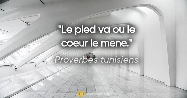 "Proverbes tunisiens citation: ""Le pied va ou le coeur le mene."""