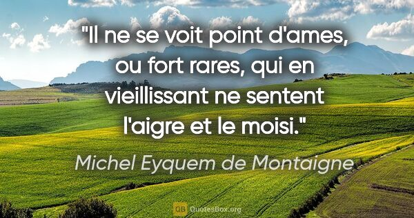 "Michel Eyquem de Montaigne citation: ""Il ne se voit point d'ames, ou fort rares, qui en vieillissant..."""