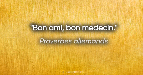 "Proverbes allemands citation: ""Bon ami, bon medecin."""