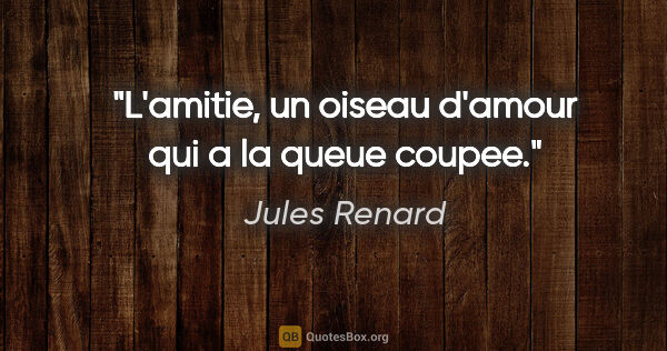 "Jules Renard citation: ""L'amitie, un oiseau d'amour qui a la queue coupee."""