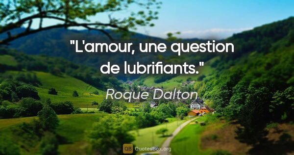 "Roque Dalton citation: ""L'amour, une question de lubrifiants."""