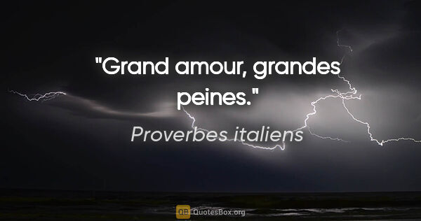"Proverbes italiens citation: ""Grand amour, grandes peines."""