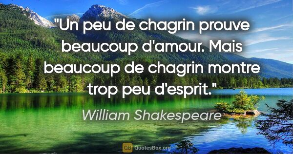 "William Shakespeare citation: ""Un peu de chagrin prouve beaucoup d'amour. Mais beaucoup de..."""