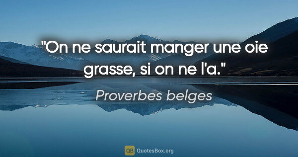 "Proverbes belges citation: ""On ne saurait manger une oie grasse, si on ne l'a."""