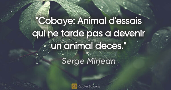 "Serge Mirjean citation: ""Cobaye: Animal d'essais qui ne tarde pas a devenir un animal..."""