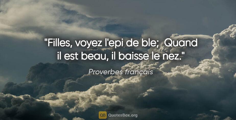 """Proverbes français citation: """"Filles, voyez l'epi de ble;  Quand il est beau, il baisse le nez."""""""