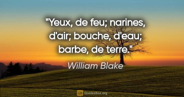 "William Blake citation: ""Yeux, de feu; narines, d'air; bouche, d'eau; barbe, de terre."""