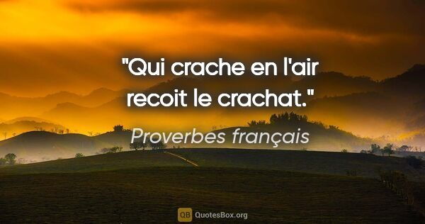 "Proverbes français citation: ""Qui crache en l'air recoit le crachat."""