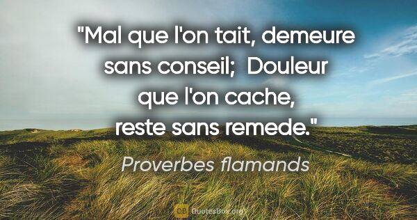 "Proverbes flamands citation: ""Mal que l'on tait, demeure sans conseil;  Douleur que l'on..."""