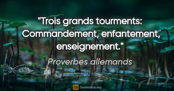 "Proverbes allemands citation: ""Trois grands tourments:  Commandement, enfantement, enseignement."""